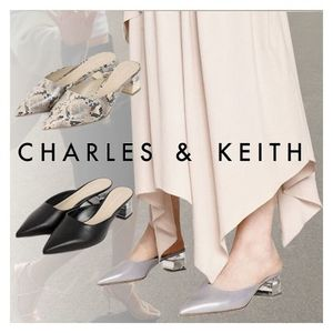 Charles&Keith★Lucite Chrome Heel Mules★ミュール