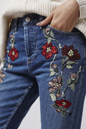 《刺繍がステキ♪》☆TOPSHOP☆MOTO Embroidered Straight Jeans